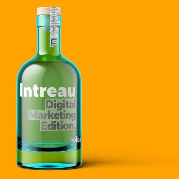 "Stylised gin bottle with ""Intreau Digital Marketing Edition"" on it"